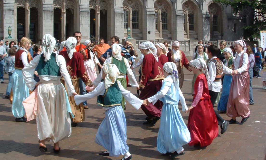 Photo: Folk dancing at Suzzallo Library