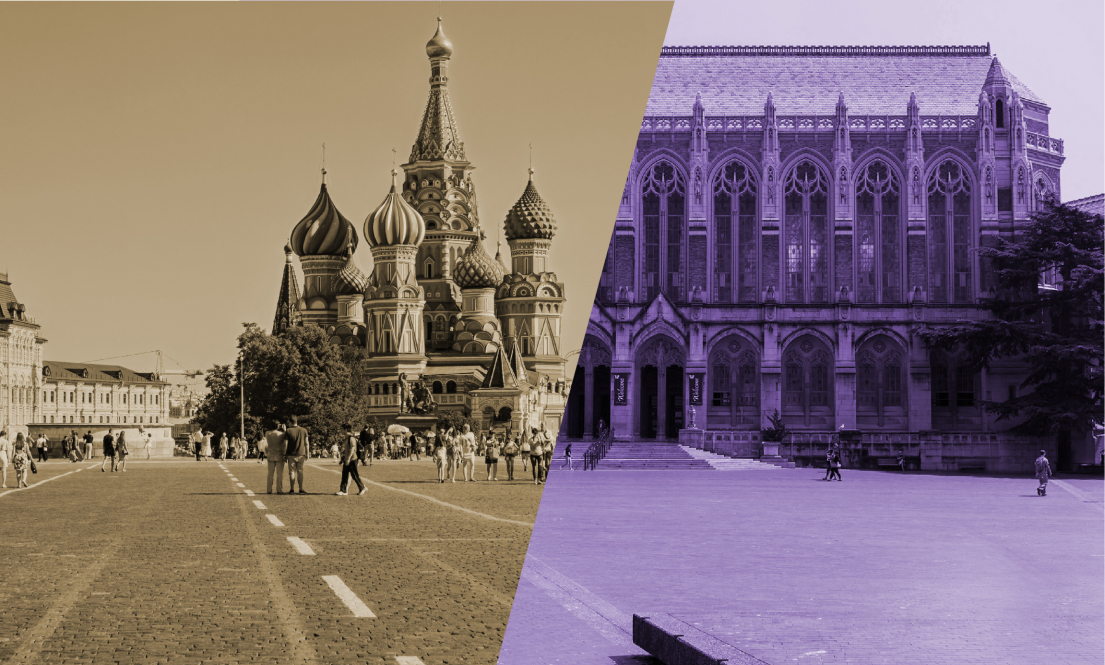 Photo: Red Square in Moscow and Red Square at the University of Washington