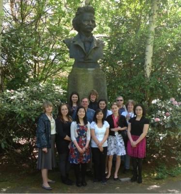 Foss High School ACTR Olympiada participants in the Grieg Garden.