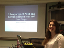 Anna Moroz presenting her honors thesis