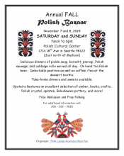 Annual Fall Polish Bazaar, Nov. 7 & 8, 2015, Polish Cultural Center