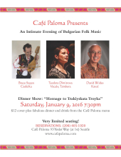 Flyer advertising Jan. 9, 2016 evening of Bulgarian folk music