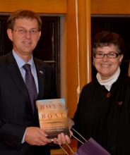 Photo of Slovenian prime minister with UW President Ana Mari Cauce