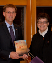 Photo of Slovenian prime minister with UW President Ana Mari Cauce