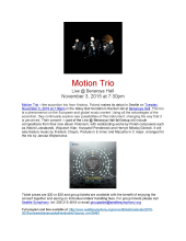 Flyer about Motion Trio concert on Nov. 3, 2015