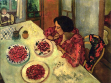 Strawberries, Bella, and Ida at the Table, 1916, oil on canvas