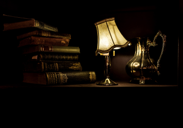 Photo of lamp with books