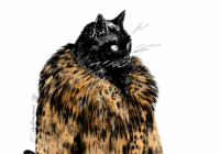 Cat in fur coat with bloody axe