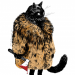 Cat in fur coat with bloody axe